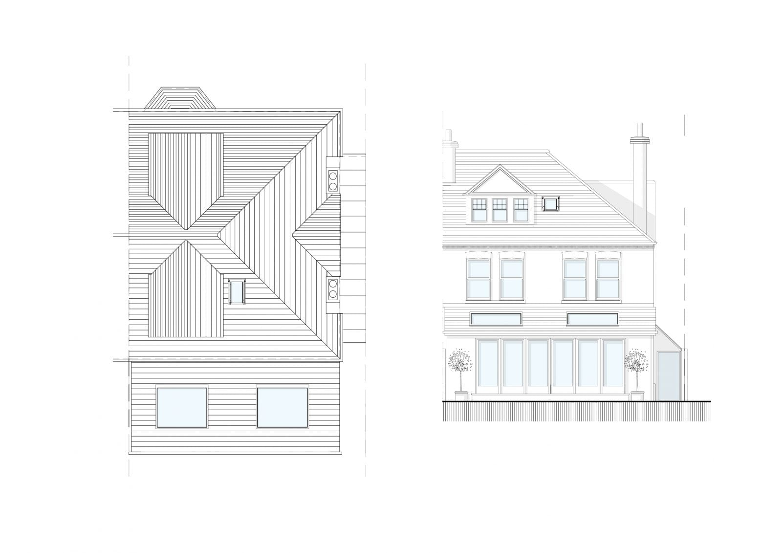 Manfield Rd - Roof Plan & Elevation (Colored)